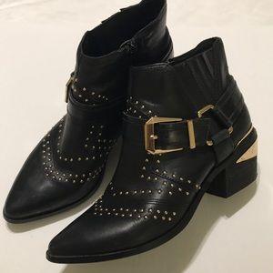 Aldo Black Studded Booties 7